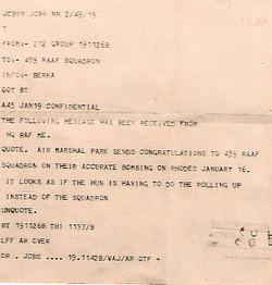 459 Telegram from Air Marshal congrats