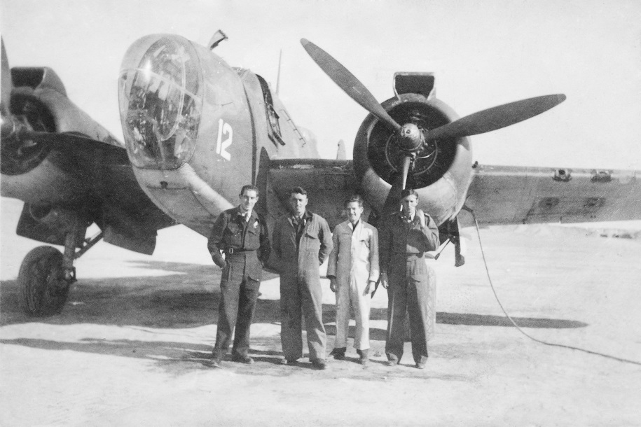 A snap of me and my crew and one of the Martin Baltimore planes we flew