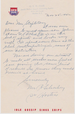 Letter from USO (Brooklyn NY) to Mrs Stapleton, 25 Nov 1942