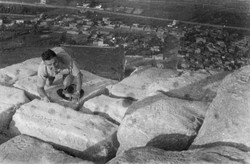 003 Writing my name on top of Cheops Pyramid - Egypt - Aug 1941`