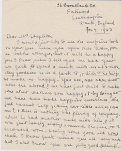 Letter from Elizabeth H Doswell to Mrs Stapleton, Jan 7 1943 (page 1 of 2)