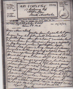 Airgraph from JAck to mother, 14 Dec 1943