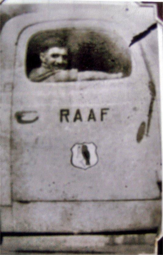 John Culbert with 454 badge on his truck Benghazi 1943