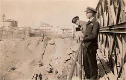 Joe Aitken and Bob Norman on newly erected Bailey Bridge