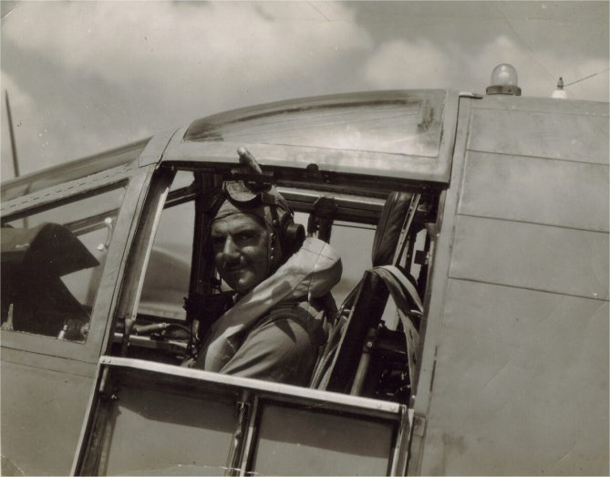 Flying Officer Roberts in pilots seat