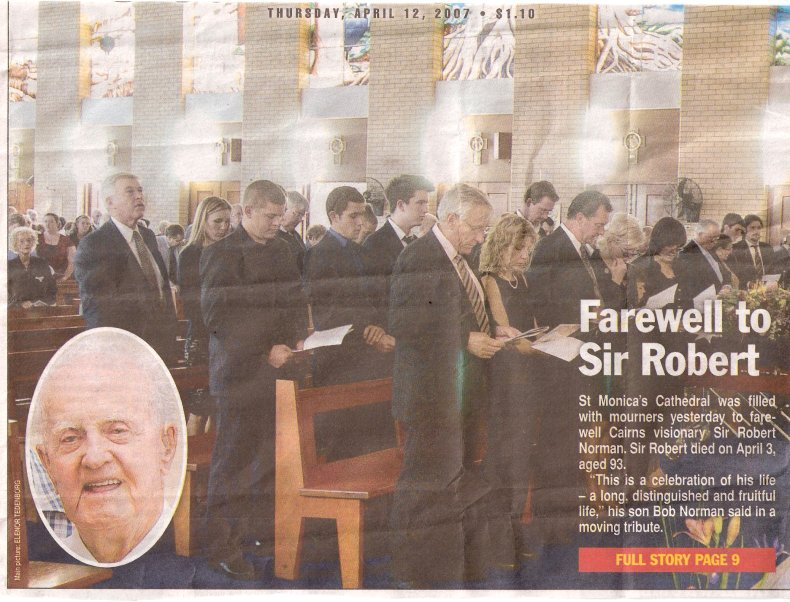 The Cairns Post Farewell to Sir Robert