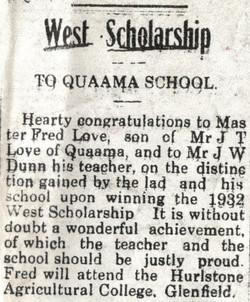 West Scholarship to Quaama School