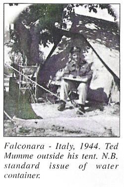 Falconara Ital 1944 Ted outside his tent
