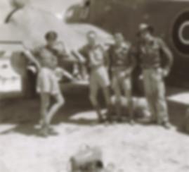 "The unfortunate crew -  L-R :  FLT EG ""Boots"" Bamkin, Pilot Officer Colin  Randle, Pilot Officer Harry Broomhall, , Flight Sergeant John ""Tack"" Brocksopp."
