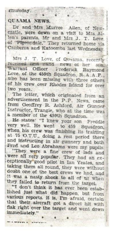 Newspaper notice of death