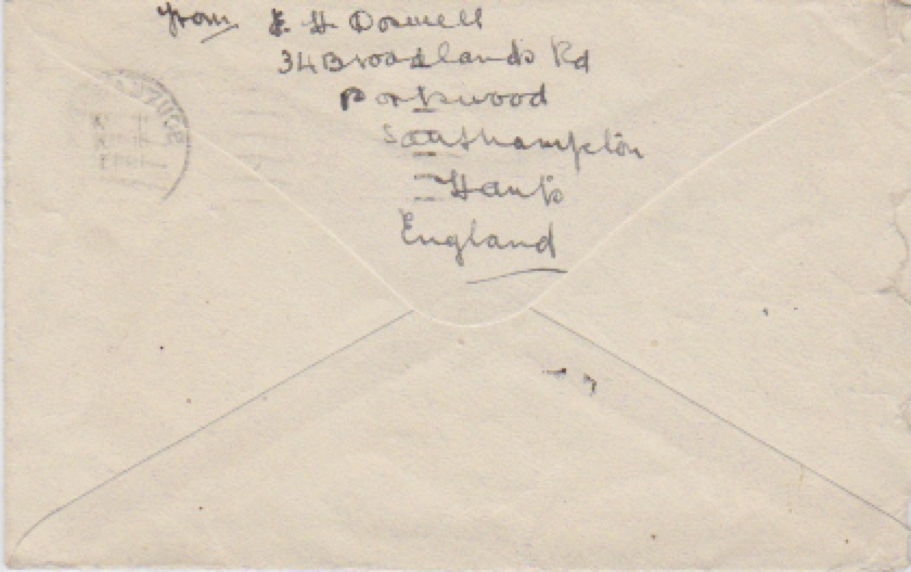 Letter from Elizabeth H Doswell to Mrs Stapleton, Jan 7 1943 (Envelope rear)