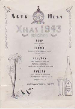 Menu, Sgts Mess, Xmas 1943 (front)