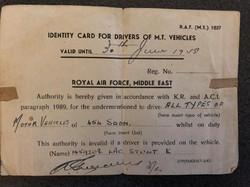 Driver Identity Card - LAC Kenneth Stunt