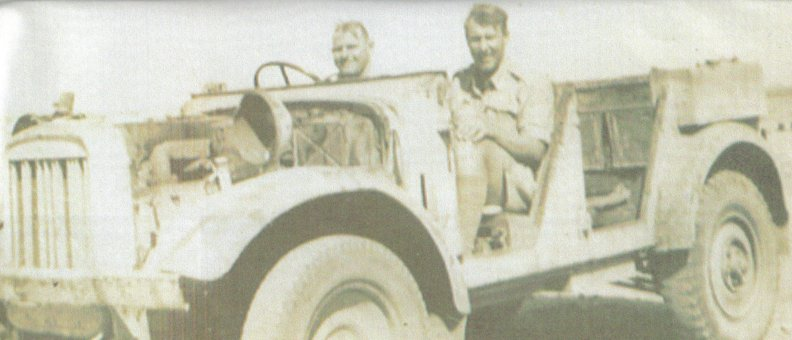 Porky Peake in captured German truck