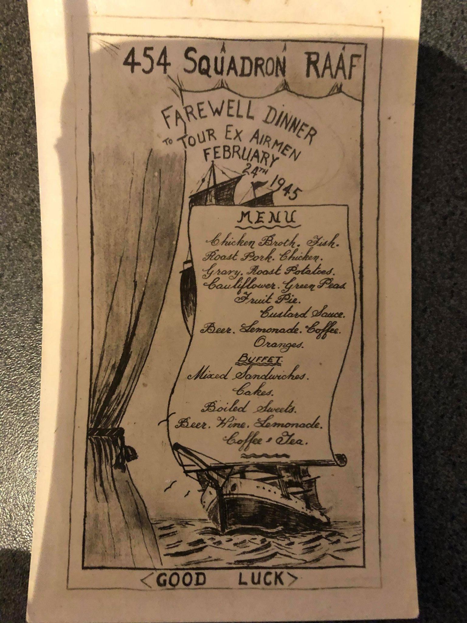 454 Sqn Farewell dinner Feb 1945