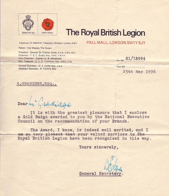 British Legion Letter
