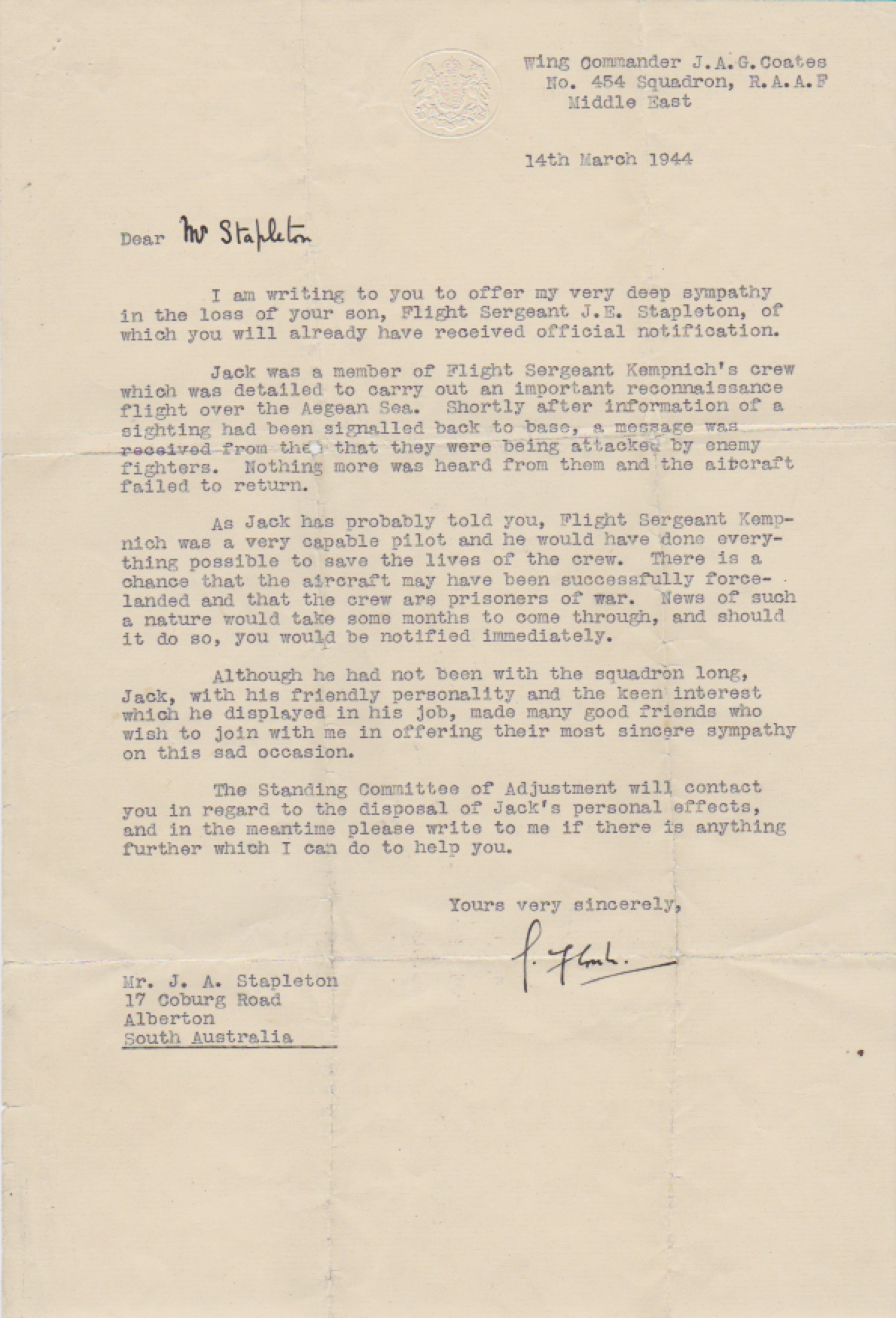letter from Wing Commander JAG Coates to Mr JA Stapleton, 14 March 1944