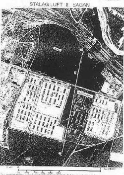 Aerial photo of Stalag Luft III during WW2