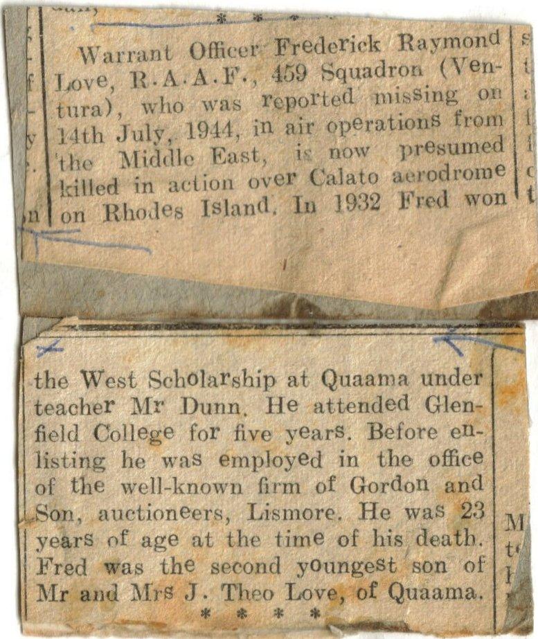 Newspaper article _ presumed dead