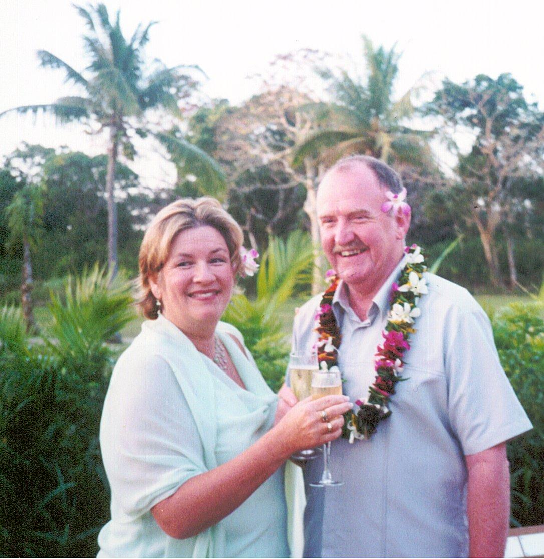 Jen & Darcy toasting the marriage Fiji
