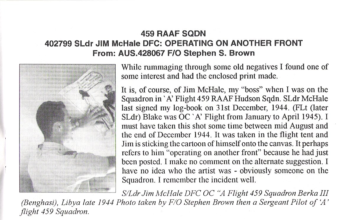 S Ldr FJ (Jim) McHale DFC Ops on another front