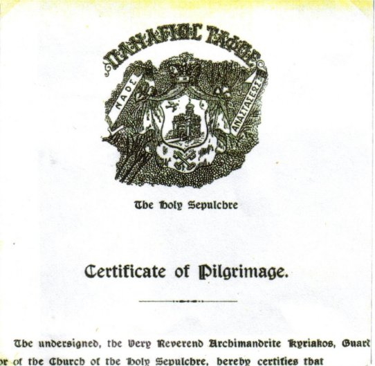Certificate of Pilgrimage