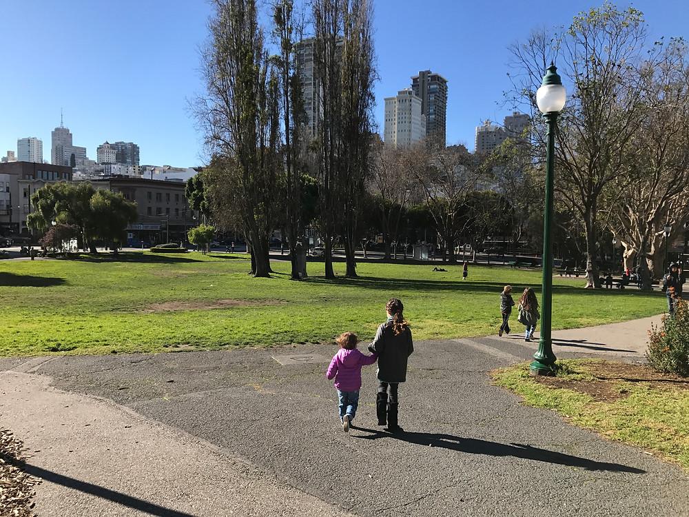 Walking into Washington Square Park