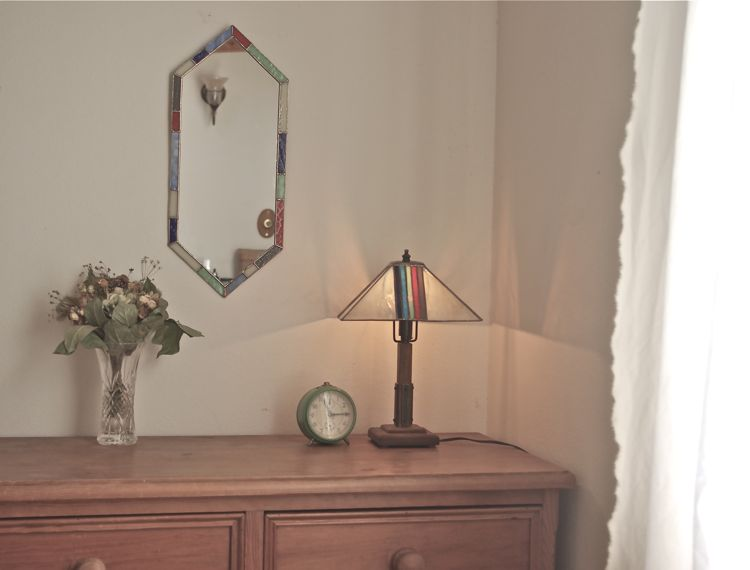 ステンドグラススタンドランプ&壁掛け鏡