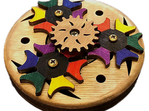 Wooden Geared Fidget Spinner - Whirring Rainbow