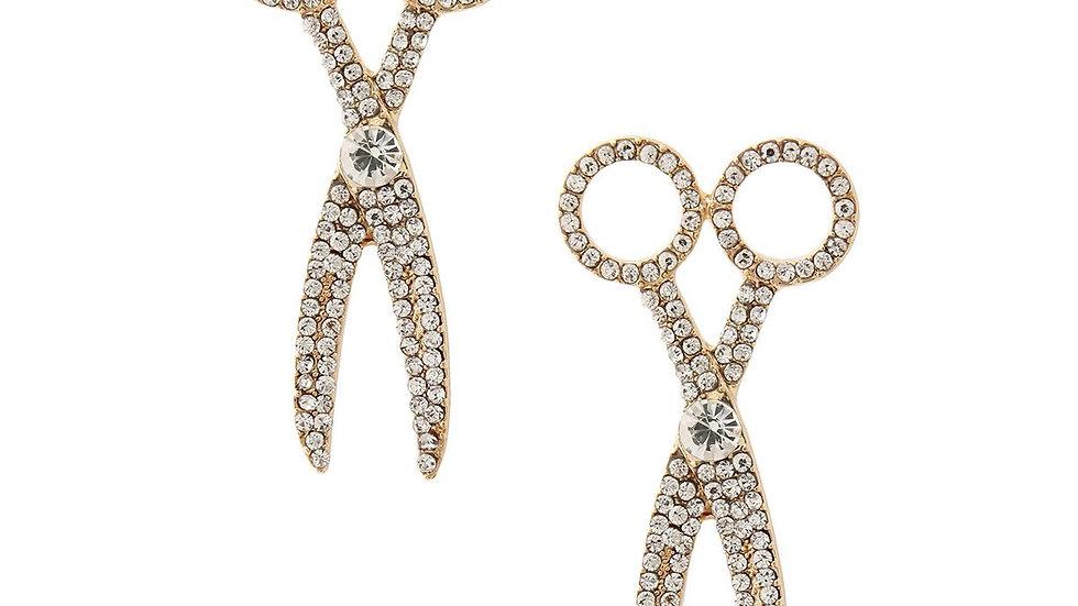 Rhinestone Scissor Earrings
