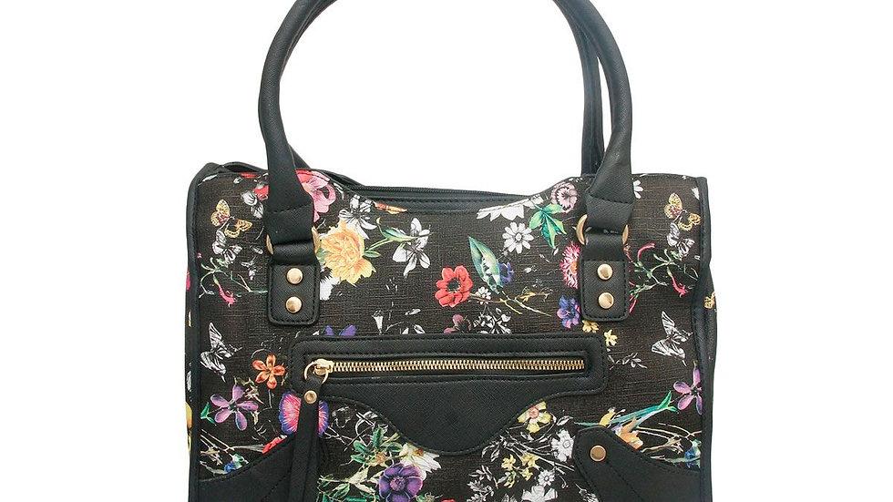 Black Floral Leather Handbag