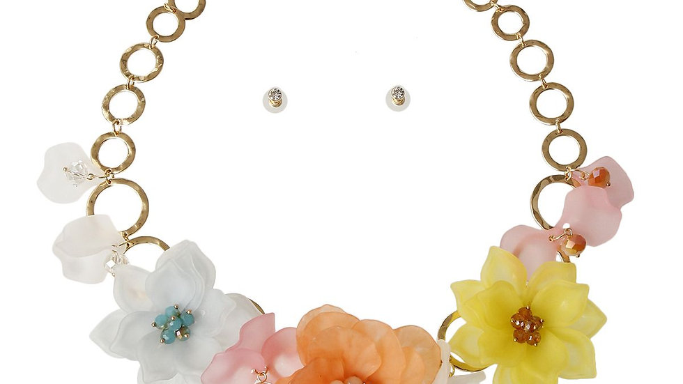 Frosted Flower Necklace Set