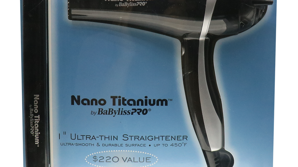 "BabylissPro Nano Titanium Ultra Thin 1"" Flat Iron/2000 Watt Ionic Dryer Combo Bl"