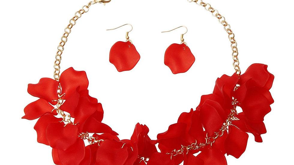 Red Flower Petal Necklace Set