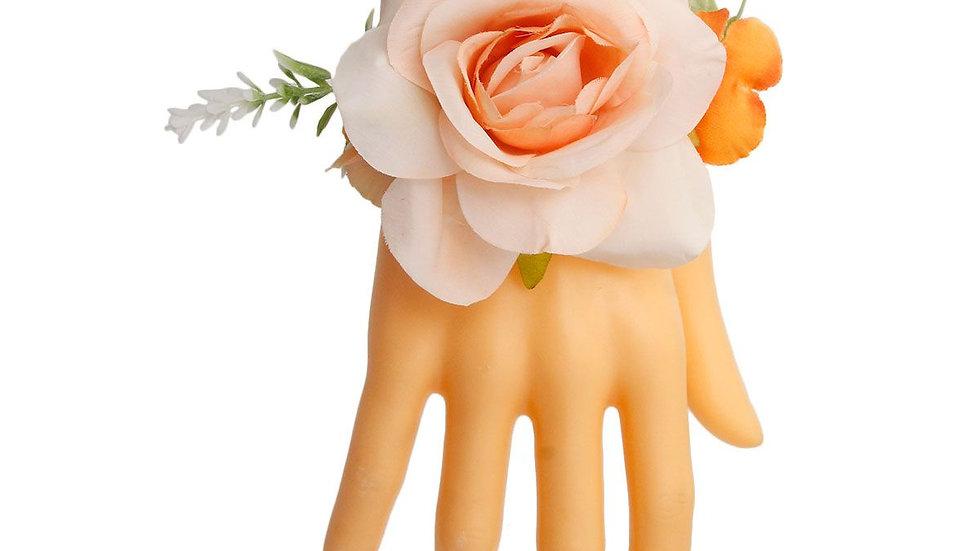Orange Fabric Flower Bracelet