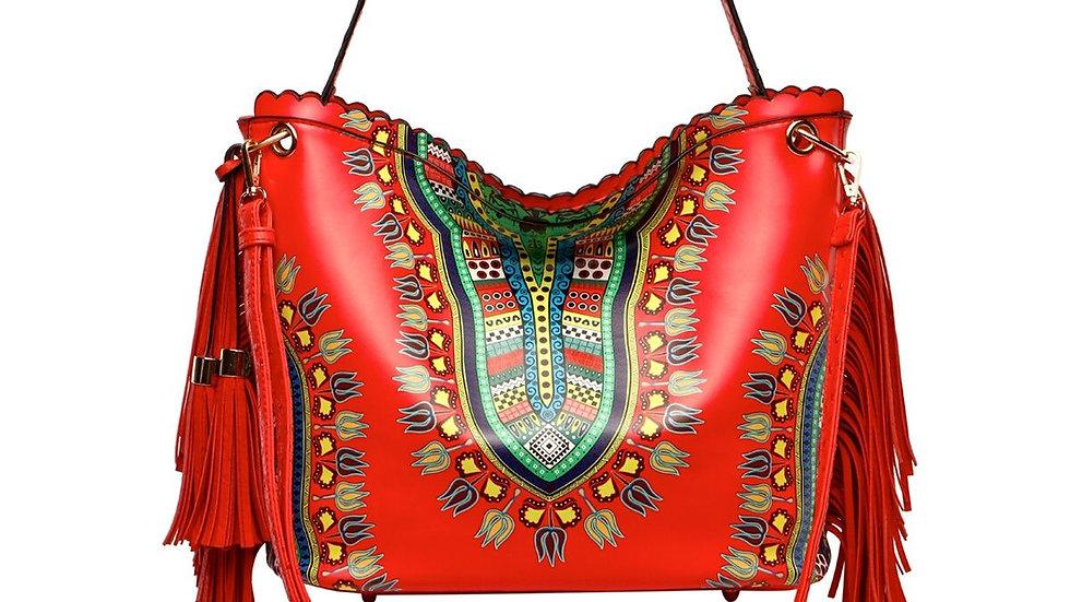 Red Dashiki Print Fringe Handbag