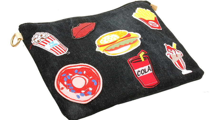 Patch Denim Clutch