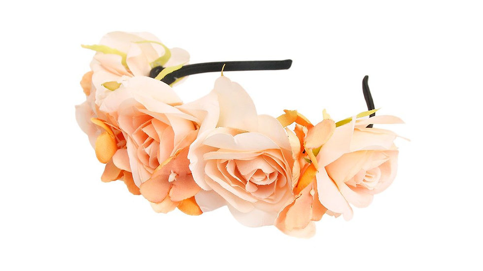 Orange Fabric Flower Headband