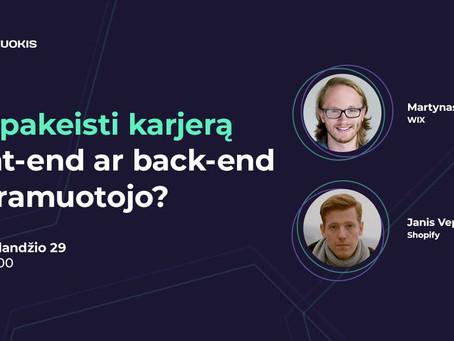 Kaip pakeisti karjerą į front-end ar back-end programuotojo?