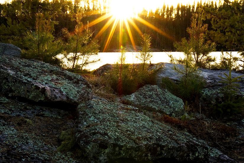 Sun setting over the rocks