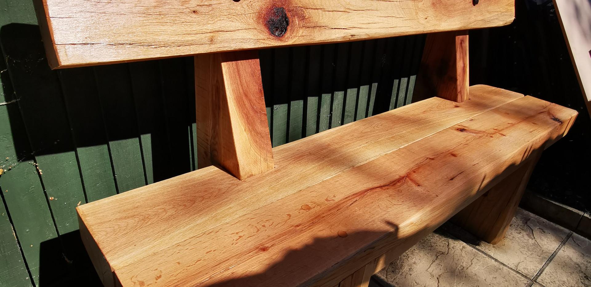 Chunky oak bench