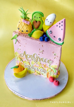 Kawaii Fruits Half Birthdy Cake