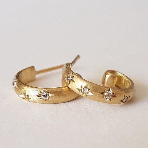 Star Studded Diamond Hoops in 18k Gold