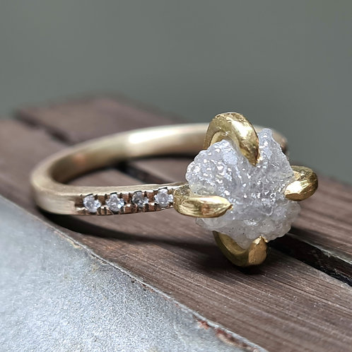 Raw Diamond Ring with White Gold Band