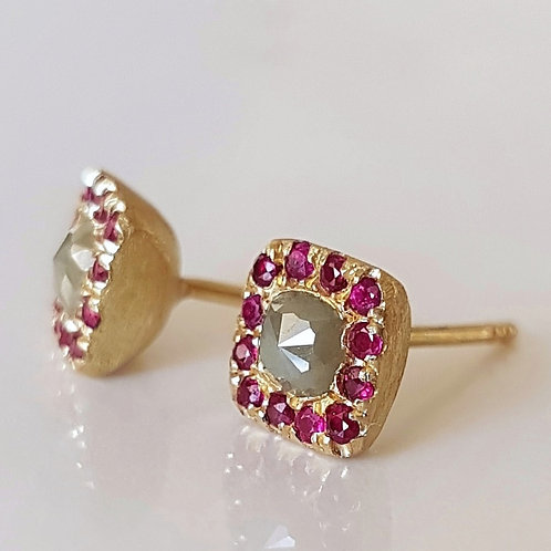 Green Diamond and Ruby Studs in 18k Gold