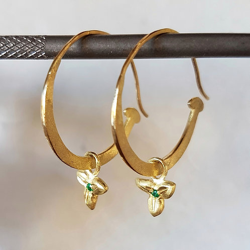 Large Hoops with Emerald Charms