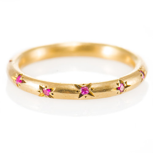 Star Studded Ruby Ring in 18k Gold
