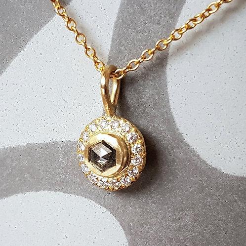 Hexagon Salt and Pepper Diamond Necklace