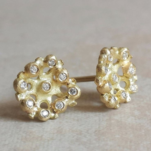 Flora Studs in 18k Gold and Diamonds