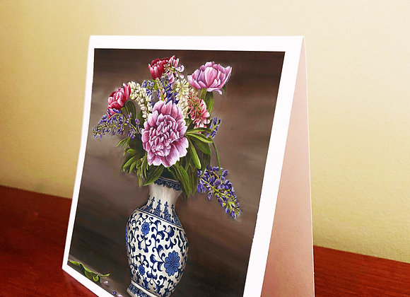 """5.5"""" x 5.5"""" Vase of Flowers Greeting Card With Envelope"""